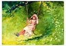 Winslow Homer (1836-1910)  -  Girl on a Swing, 1879 - Postkaart -  A54328-1