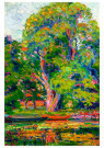 William E.Schumacher 1871-1931 -  Trees with Stream and Boat, - Postkaart -  A62564-1