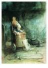 Jozef Israels (1824-1911)  -  Kind in stoel - Postkaart -  A6492-1