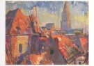 Johan Dijkstra (1896-1978)  -  Daken met gezicht op de Martinitoren - Postkaart -  A7268-1