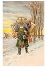 Anonymus  -  Kerstman met cadeaus in een sneeuwlanschap - Postkaart -  A77109-1