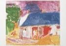 Job Hansen (1899-1960)  -  Dwarsstraat, paarse lucht en twee mensen, 1954 - Postkaart -  A7807-1