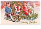 Anonymus  -  Jongen en meisje op een slee (Gelukkig Nieuwjaar) - Postkaart -  A78170-1
