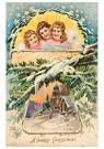 Anonymus  -  Kerstengelen boven een besneeuwd dorp - Postkaart -  A78220-1