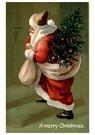 Anonymus  -  Kerstman met cadeaus staat voor de deur - Postkaart -  A79594-1