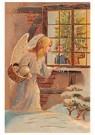 A.N.B.  -  Kerstengel kijkt door het raam en ziet kinderen muziek maken - Postkaart -  A80114-1