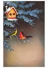 Anonymus  -  Twee vogels op een tak met daarboven een vogelhuisje - Postkaart -  A81183-1