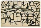 Theo van Doesburg (1883-1931)  -  Stadsgezicht met boot (Leiden), 1917 - 1918 - Postkaart -  A81504-1