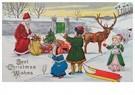 Anonymus  -  Kinderen met kerstman in de sneeuw - Postkaart -  A83099-1