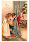 Anonymus  -  Kinderen kijken hoe de kerstman de cadeaus neerlegt - Postkaart -  A84245-1