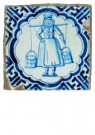 Delft  -  Blauwwitte tegel met melkmeisj - Postkaart -  A8660-1