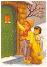 Anonymus  -  Een kind en een engel met een kaars kloppen aan bij een huis - Postkaart -  A86612-1