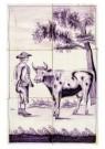 Delft  -  Zes tegels met boer en koe - Postkaart -  A8662-1