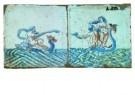 Delft  -  twee tegels met zeewezen - Postkaart -  A8698-1
