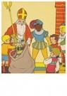 A.N.B.  -  Sinterklaas deelt cadeaus uit aan kinderen - Postkaart -  A87052-1