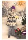 Anonymus  -  Jong meisje met kerstcadeaus en een slee (Vroolijk Kerstfees - Postkaart -  A87885-1