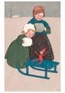 Anonymus  -  Kinderen met een slee - Postkaart -  A89363-1