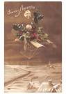 A.N.B.  -  Vliegt met kersthulst boven een winterlandschap - Postkaart -  A90930-1