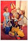 Anonymus  -  Twee meisjes bij Sinterklaas met cadeaus - Postkaart -  A91029-1