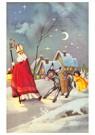 A.N.B.  -  Sinterklaas met engel en ezel in de sneeuw - Postkaart -  A91875-1