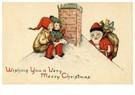 Anonymus  -  Kerstman klimt het dak op met cadeaus - Postkaart -  A94425-1