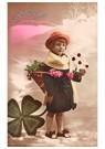 Anonymus  -  Jong meisje met envelop in een winterlandschap - Postkaart -  A95639-1