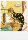Sal Meijer (1877-1965)  -  Kat likkend aan kraan - Postkaart -  A9721-1