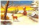 Anonymus  -  Sneeuwlandschap met dennebomen, een kerk en een hert - Postkaart -  A97847-1