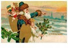 Anonymus  -  Kerstman loopt met kerstengel door de sneeuw - Postkaart -  A98057-1