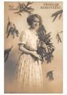 Anonymus  -  Jonge dame met kersttakken (Vroolijk Kerstfeest) - Postkaart -  A99642-1