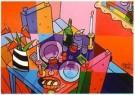 Jacqueline Schafer  -  Tafel voor twee met spiegel - Postkaart -  C11274-1