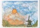 Riet van Bezouwen  -  R.v.Bezouwen/Molen onder zon - Postkaart -  C7131-1