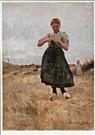 German Grobe (1857-1938)  -  Breiend meisje / Katwijk - Postkaart -  C8198-1