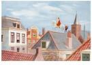 J.C. Kesler - Sint en Piet op het dak, ca. 1930 - Postkaart - D1136-1