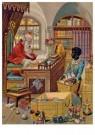 - Sinterklaas thuis aan het werk, 19e eeuw - Postkaart - D1137-1