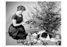 Spaarnestad Fotoarchief,  -  Vrouw bij kerstboom - Postkaart -  D1148-1