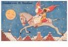 .  -  Sint rijdt over de daken - Postkaart -  D1224-1