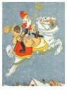 -  Sint en Piet te paard, in volle vlucht - Postkaart -  D1242-1