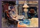 Kees Verwey (1900-1995)  -  Jeanne in de huiskamer bij de olielamp, 1952 - Postkaart -  DM047-1