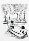 Fiep Westendorp (1916-2004)  -  Jip en Janneke in roeiboot - Postkaart -  FW121-1