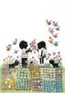 Fiep Westendorp (1916-2004)  -  Jip en Janneke met bloemen - Postkaart -  FWC040-1