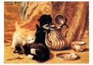 H. Ronner-Knip (1821-1909)  -  Teatime, 1897 - Wenskaarten-set -  QA382-1