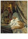 H. Ronner-Knip (1821-1909)  -  A Mother Cat and her Kitten with a Bracket Clock - Wenskaarten-set -  QA384-1