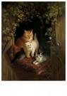 H. Ronner-Knip (1821-1909)  -  Cat with Kittens, 1844 - Wenskaarten-set -  QA385-1