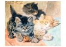 H. Ronner-Knip (1821-1909)  -  Three Kittens, 1896 - Wenskaarten-set -  QA390-1
