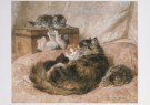 H. Ronner-Knip (1821-1909)  -  Moederliefde, 1898 - Wenskaarten-set -  QA393-1