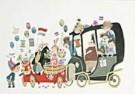 Fiep Westendorp (1916-2004)  -  Pluk met 2 auto's - Postkaart -  QFWC017-1