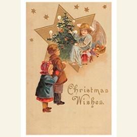 Kinderen zien een engel bij de kerstboom