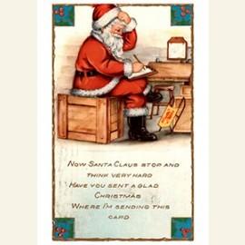 Kerstman schrijft een kaart