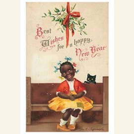 Meisje en een zwarte kat (best wishes for a happy new year)